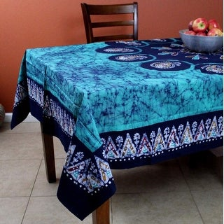 Multi Batik Floral Paisley Tablecloth Rectangular Cotton 60x90 Emerald Green - 60 x 90 inches