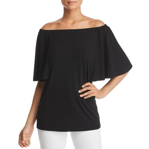 Le Gali Womens Blair Blouse Flutter Sleeve Gathered - Black - XS