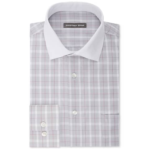 """Geoffrey Beene Mens Aloe Performance Button Up Dress Shirt, Grey, 16.5"""" Neck 34""""-35"""" Sleeve"""
