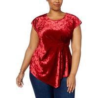 NY Collection Womens Plus Wrap Top Velvet Asymmetric
