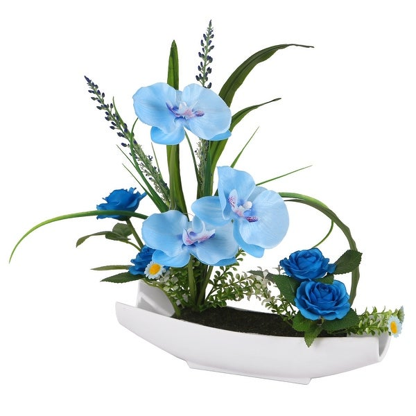 "15"" Potted Artificial Blue Orchid Flowers - N/A"