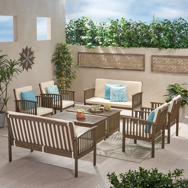 Carolina Acacia 8-piece Outdoor Sofa Set by Christopher Knight Home. Opens flyout.