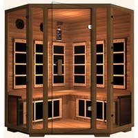 JNH Lifestyles Freedom 3 person Corner Zero-EMF Far Infrared Canadian Western Red Cedar Wood Sauna / Model MG401CRB