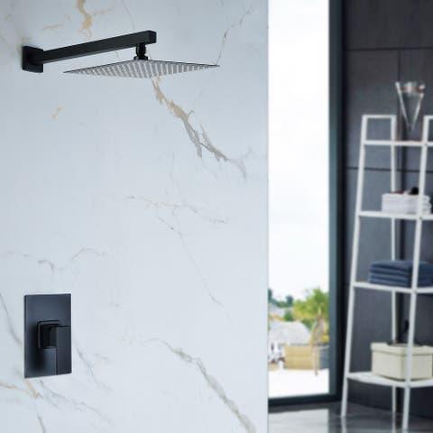 Kichae Pressure Balancing Rain Shower System Rough-in Valve Trim Kit Shower Faucet Set Complete Square