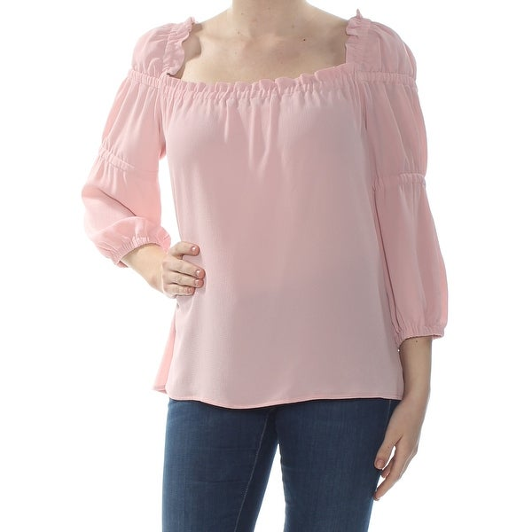 b6063f0a Shop CECE Womens Pink Ruffle Long Sleeve Square Neck Blouse Wear To Work  Top Size: M - Free Shipping On Orders Over $45 - Overstock - 28380417