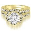1.42 cttw. 14K Yellow Gold Halo Round Cut Diamond Bridal Set - Thumbnail 0