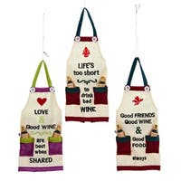 "7.25"" Tuscan Winery ""Good Friends Good Wine & Good Food Always"" Kitchen Apron Christmas Ornament - RED"