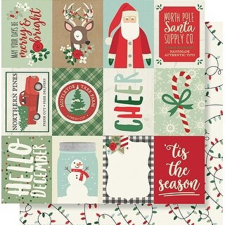 """Merry & Bright Double-Sided Cardstock 12""""X12""""-3""""X4"""" Elements"""