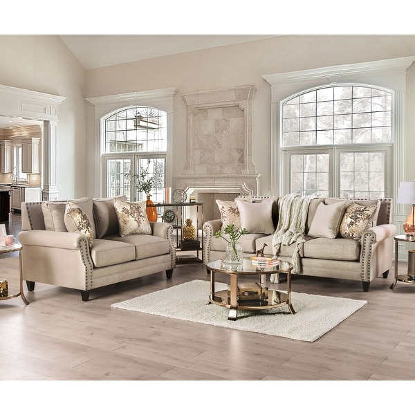 Furniture of America Qyn Transitional Beige 2-piece Living Room Set. Opens flyout.
