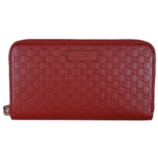 16d909fc11a3 Shop Gucci Women's 449391 Red Leather Micro GG Guccissima Zip Around Wallet  - 7.5