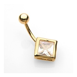 """Navel Belly Button Ring with Gold Plated Diamond Shaped CZ - 14GA - 3/8"""" Long"""