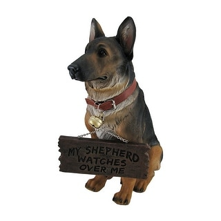 I Don't Dial 911 German Shepherd Guard Dog Warning Statue - 13.75 X 5.5 X 10 inches