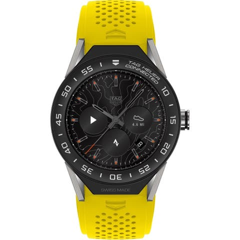 Tag Heuer Men's SBF8A8001.11FT6082 'Connected Modular' Yellow Rubber Watch - Multi
