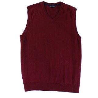 Club Room NEW Plum Red Mens Size Large L V-Neck Knit Sweater Vest