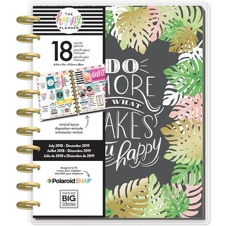 """Happy Planner 18-Month Dated Big Planner 8.25""""X11.5""""-Enjoy All Things, Jul 2018-Dec 2019"""