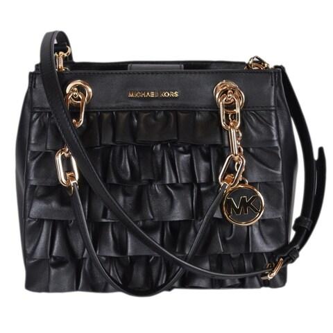 Michael Kors Small Black Leather Ruffled Cynthia Satchel Purse Handbag
