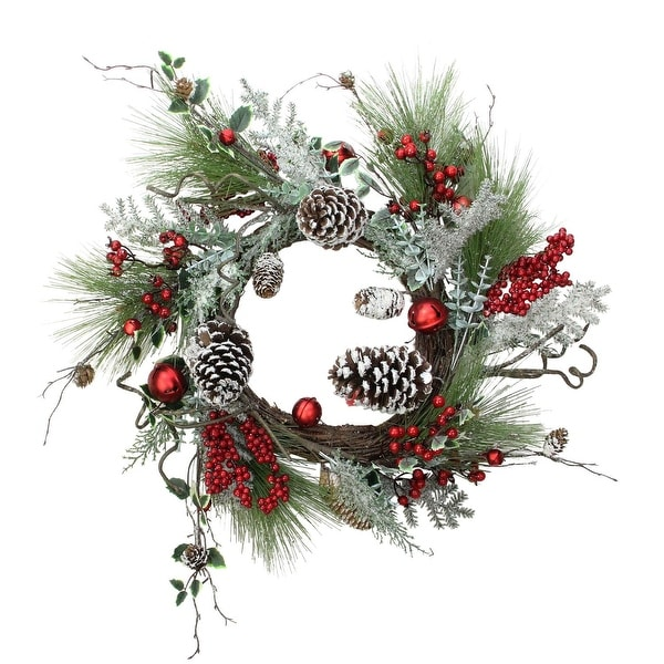 """24"""" Frosted Bells, Berries and Pine Cones Artificial Christmas Wreath - brown"""