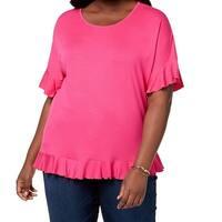 NY Collection Pink Women's Size 2X Plus Ruffle Sleeve Hem Blouse