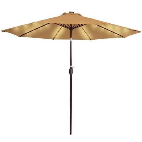 9 inch push button tilt outdoor solar 32 LED light umbrella