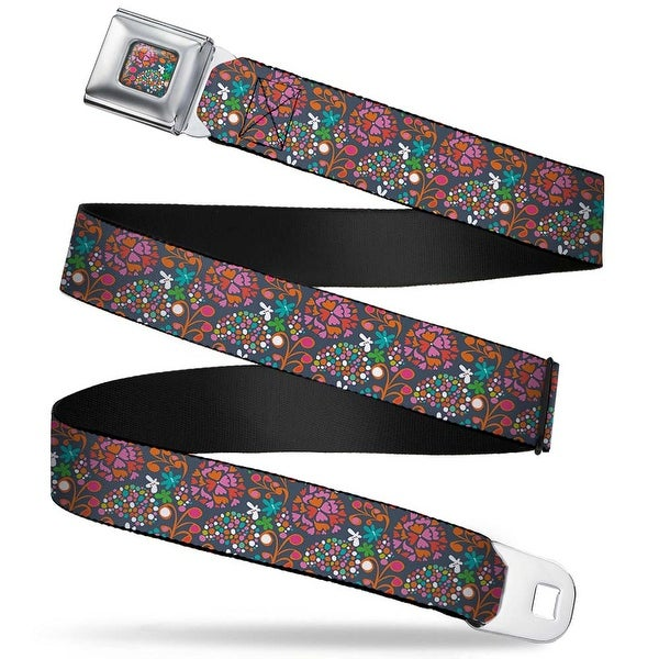 Rz Floral4 Full Color Gray Red Orange Pinks White Blues Rz Floral4 Gray Red Seatbelt Belt