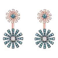 Prism Jewel 1.14Ct G-H/SI1 Blue Color Diamond & Natural Diamond Two-Flower Front Back Earring
