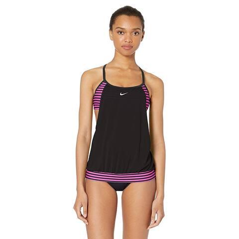 Nike Swim Women's Layered Sport Tankini Swimsuit Set,, Black, Size X-Large