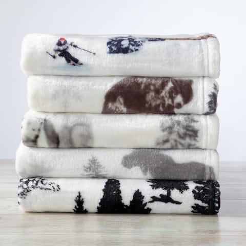 Great Bay Home Velvet Plush Lodge Theme Printed Oversized Throw Blanket