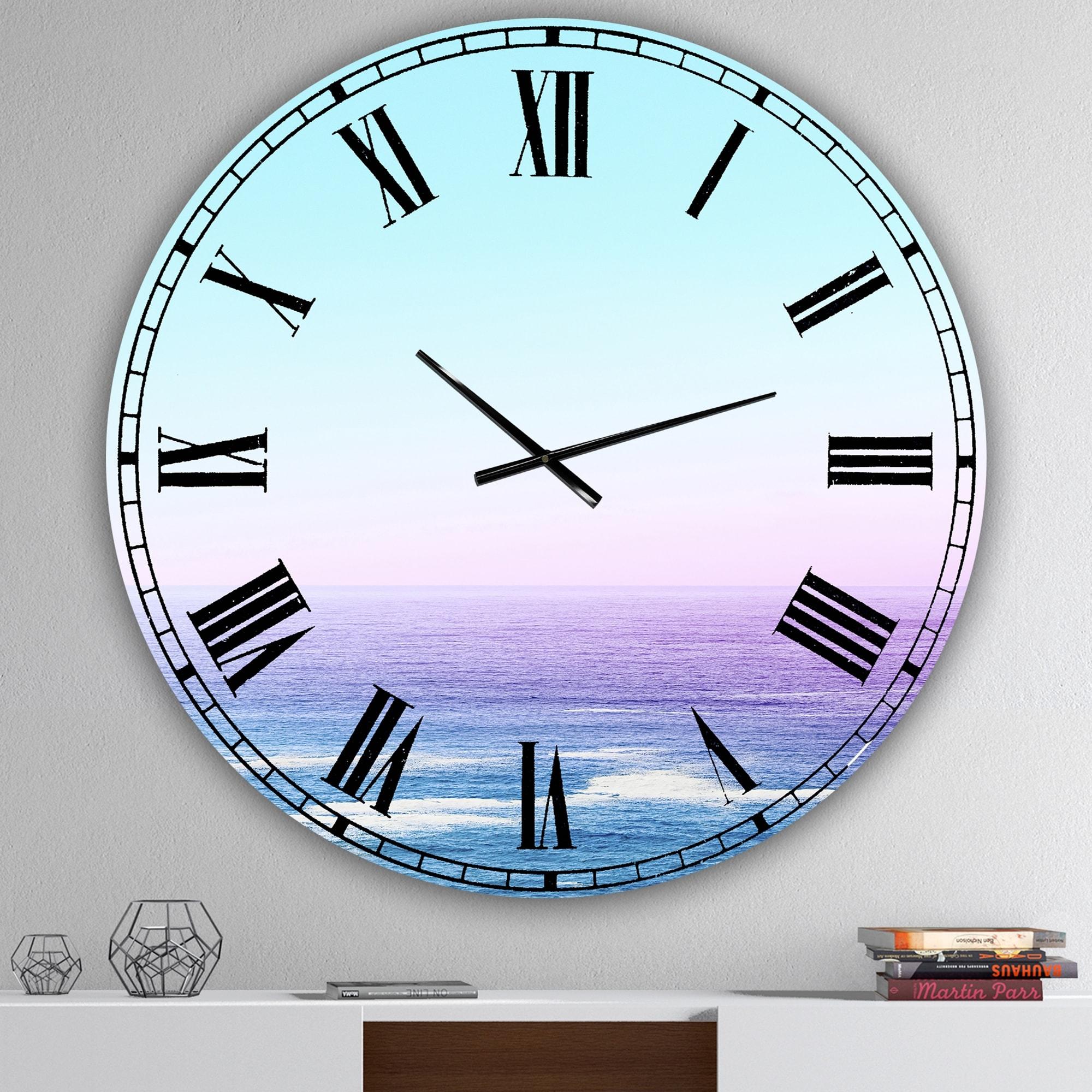 Designart 'Ocean View' Oversized Nautical & Coastal Wall Clock