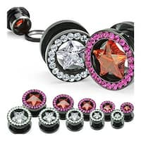 Titanium Anodized over Surgical Steel Screw Fit Tunnel with Gemmed with Star CZ (Sold Individually)