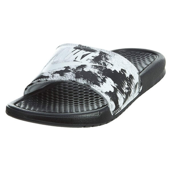 f7576988c36f40 Shop Nike Womens Benassi Jdi Print Slide Sandals Black White 618919 ...