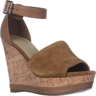 Marc Fisher Hillory Wedge Sandals, Medium Brown