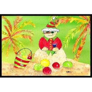 Carolines Treasures 8662MAT 18 x 27 in. Sandman Snowman Christmas At The Beach Indoor Or Outdoor Mat