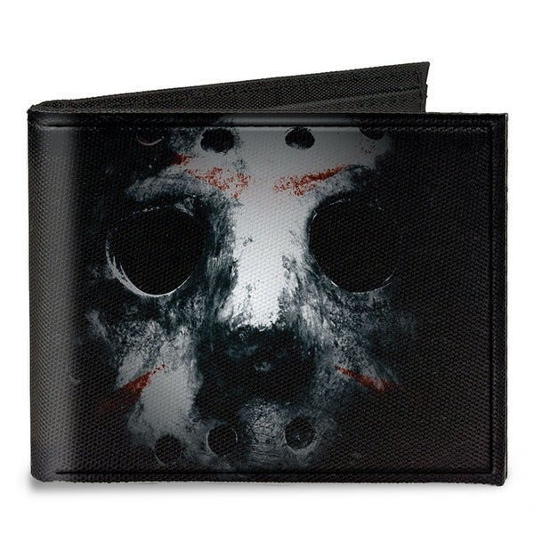 Jason Mask3 Close Up + Friday The 13Th Black Grays Red Canvas Bi Fold Wallet One Size - One Size Fits most