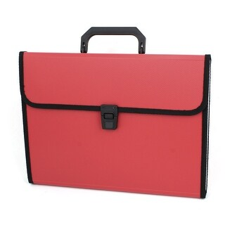 Red 13 Slots Rectangle Shape Document File Holder Briefcase Bag
