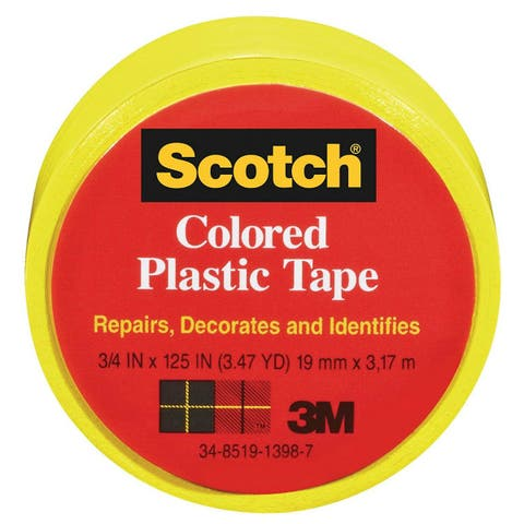 """Scotch 190Y Colored Plastic Tape, 3/4"""" x 125"""", Yellow"""