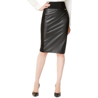Calvin Klein Womens Pencil Skirt Faux Leather Power Stretch