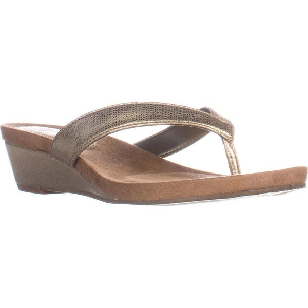 SC35 Haloe2 Wedge Thong Sandals, Champagne