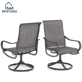 MFSTUDIO 2 Pieces Patio Steel Dining Swivel Chairs Bistro Backyard Rocker Weather Resistant Garden Outdoor Furniture