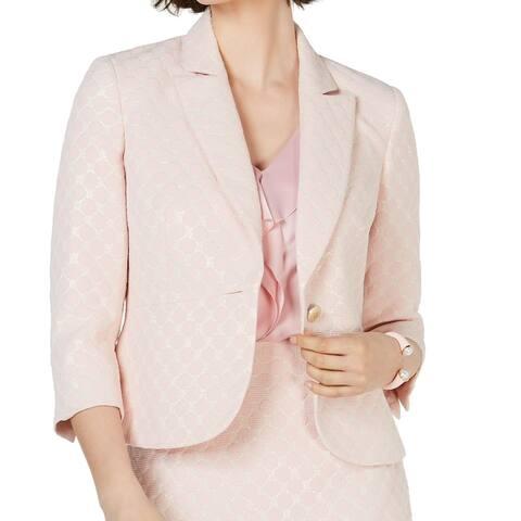 Kasper Women's Blazer Bubblegum Pink Size 16 Polka Dot Shimmer