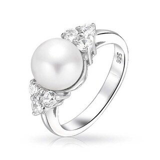 Bling Jewelry 925 Sterling Silver CZ Cluster Button Freshwater Cultured Pearl Ring - White
