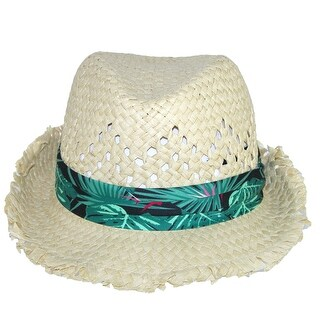 San Diego Hat Company Kids' Fedora with Frayed Edge and Tropical Print Band