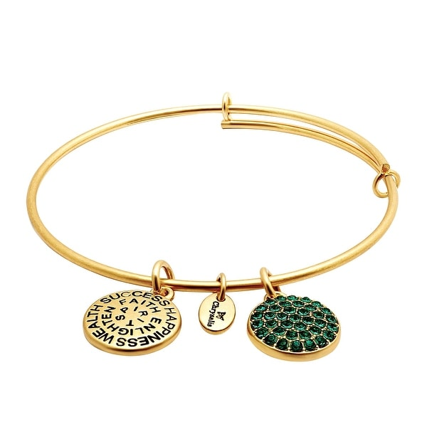 Chrysalis Expandable May Bangle Bracelet with Green Swarovski Crystals in 14K Gold-Plated Brass