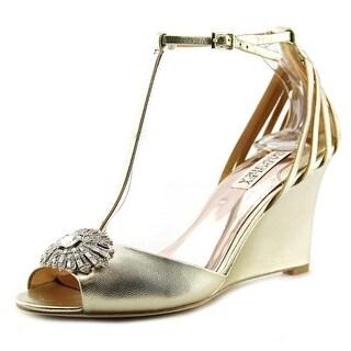 Badgley Mischka Milly II Open Toe Leather Wedge Heel