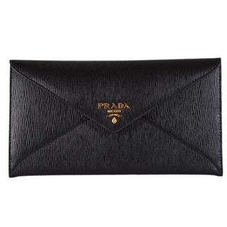 f833294b2201a1 Shop Prada 1MF175 Black Vitello Saffiano Leather Flap Envelope Wallet  Clutch - 7.75