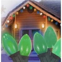Hofert  Ceramic Green C7 Green Wire Christmas Light, Set of 25