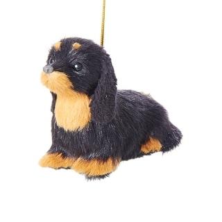 "4"" Black and Golden Tan Plush Dachshund Puppy Dog Christmas Ornament"