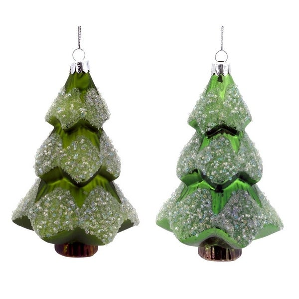 """8ct Shiny and Matte Embellished Glass Christmas Tree Ornaments 6"""" - green"""