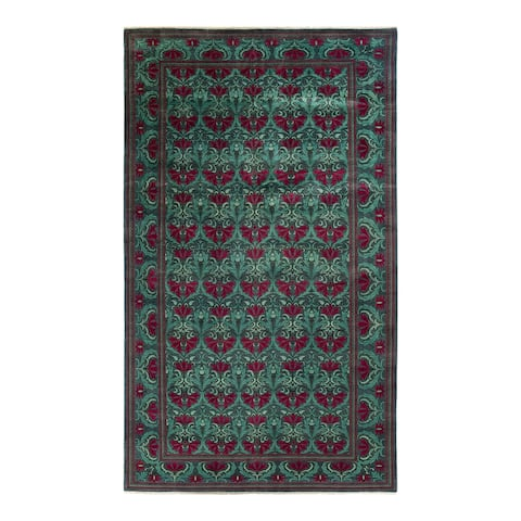 """Eclectic, One-of-a-Kind Hand-Knotted Area Rug - Green, 9' 4"""" x 16' 4"""" - 9' 4"""" x 16' 4"""""""
