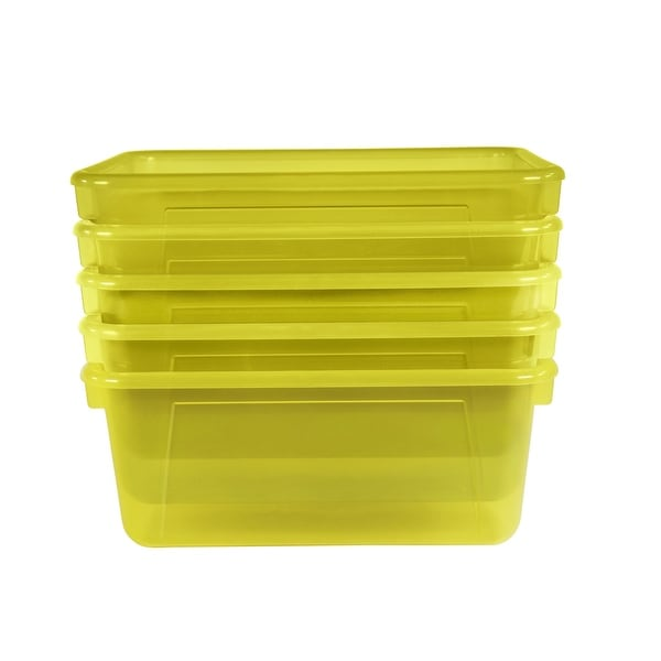 School Smart Translucent Cubby Bin, Small, 12 x 8 x 5 Inches, Candy Yellow, Pack of 5
