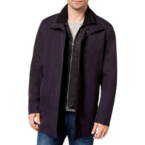 Michael Kors Mens Jacket Blue Size 44R Bayard Slim-Fit Rainwear